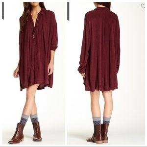 Free People Spin Me button down Shirt tunic Dress